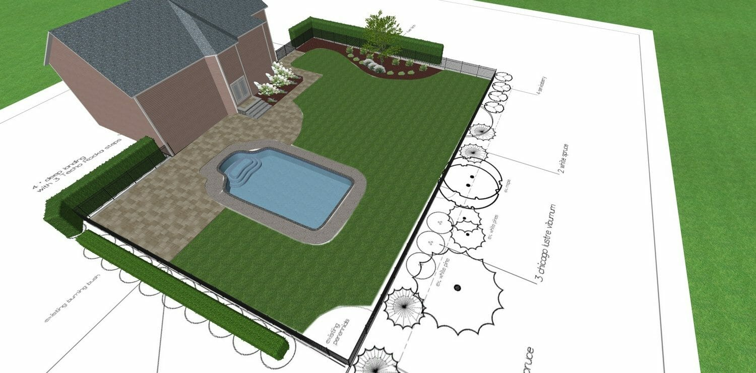 02pool landscape plan Schenectady County NY 1500x741 - Landscape Design Plan packages