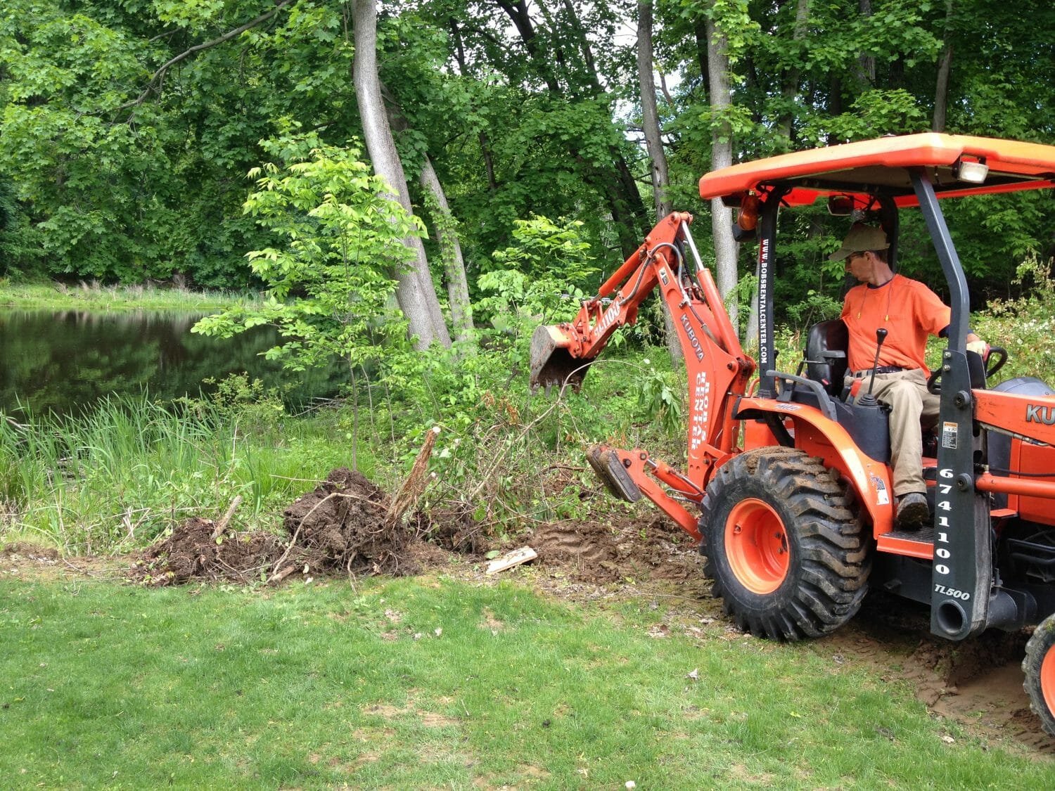 Backhoe removing brush for native garden slingerlands ny