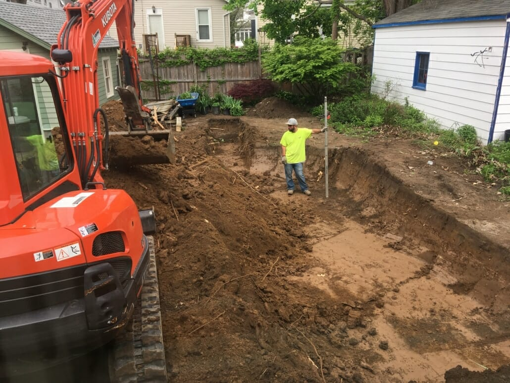 Permeable patio excavation Albany