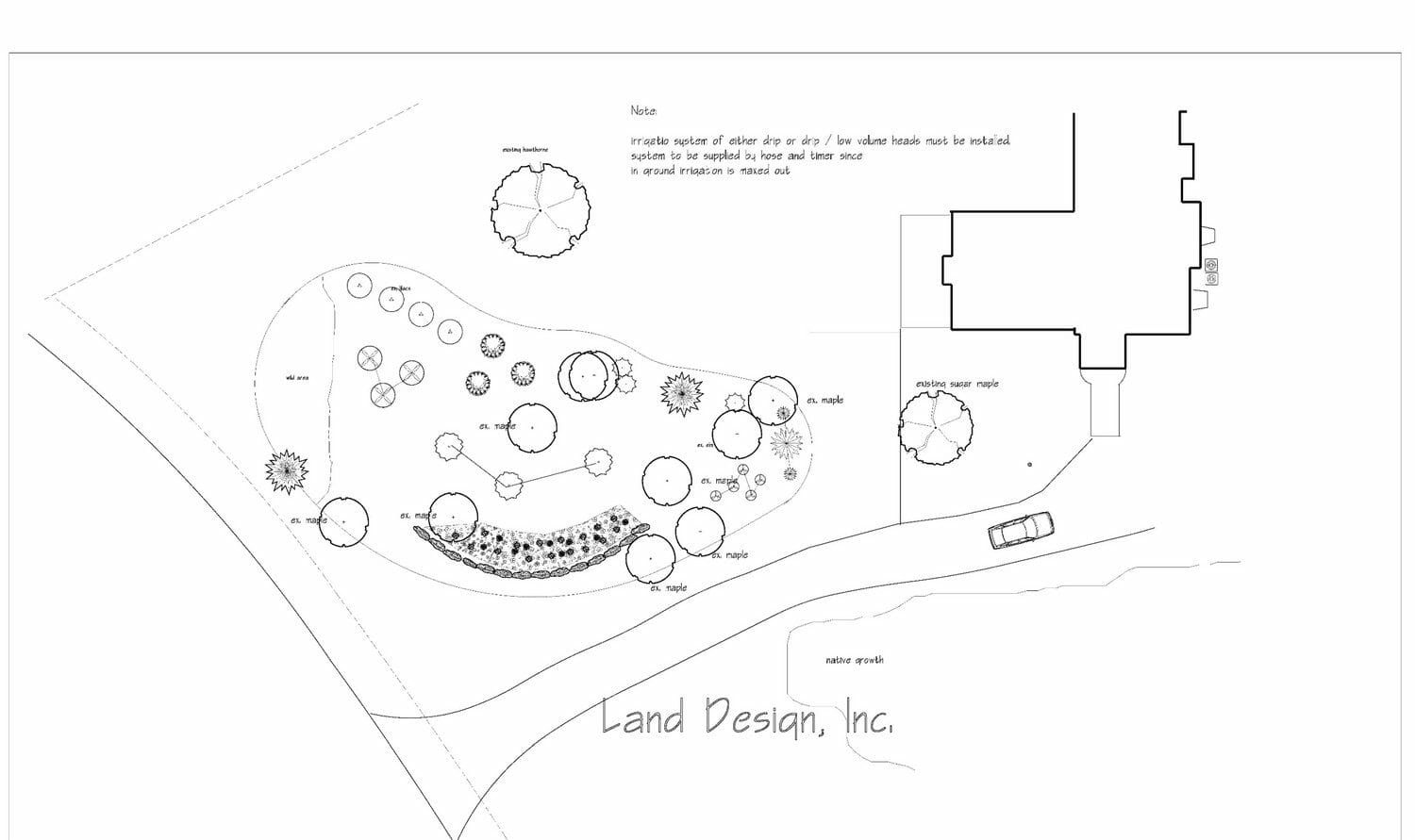 Latham NY woodland garden plan drawing 1500x891 - Landscape Design Plan packages