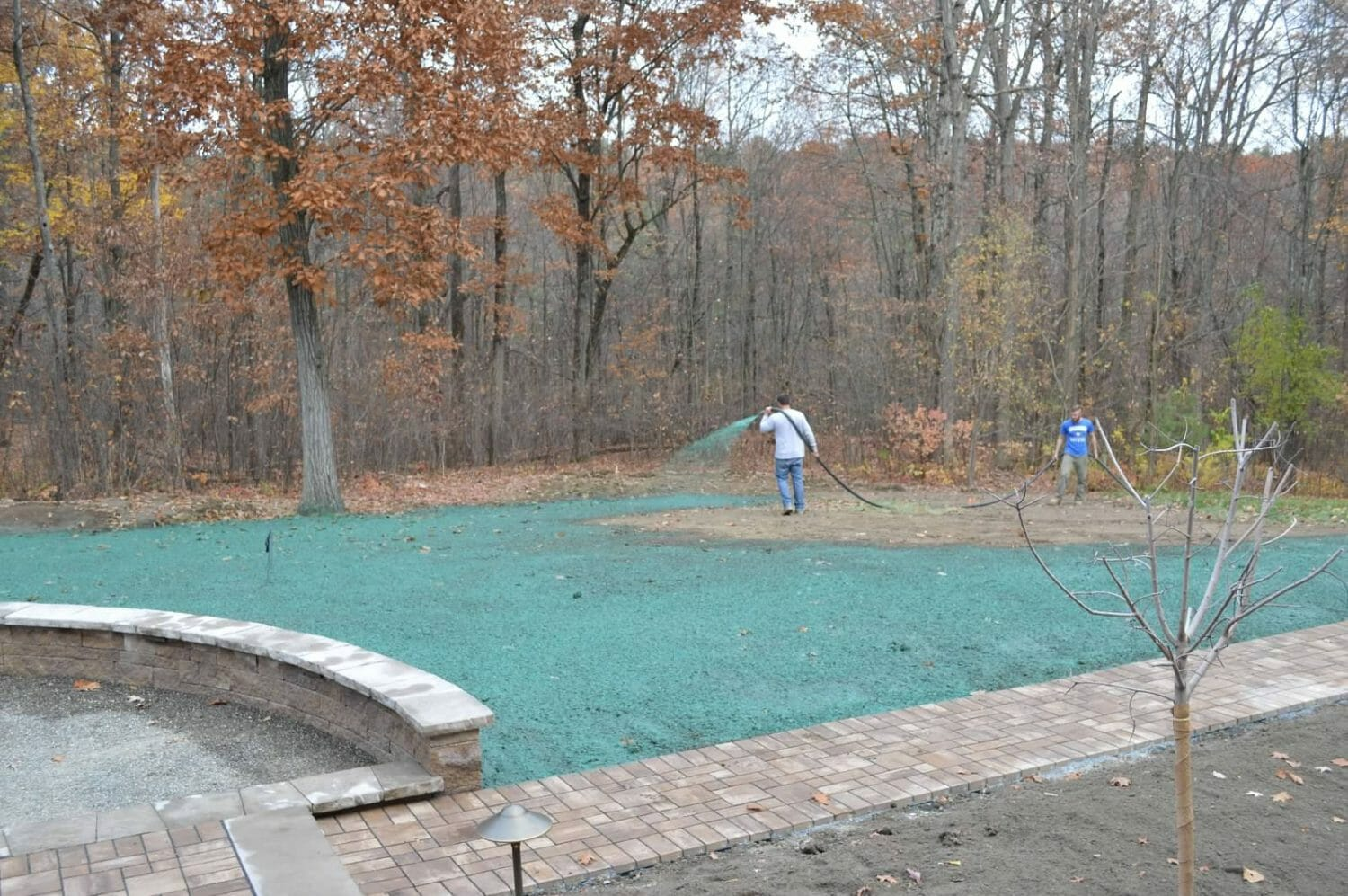 Wynantskill NY hardscape design project hydroseeding 1500x997 - Landscape Plan Installation and Project Management